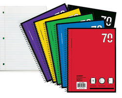 1-Subject College Rule Spiral Notebook - 70 sheets