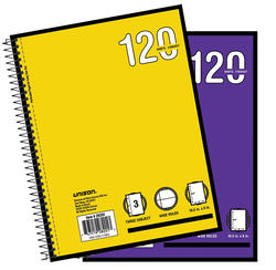 3-Subject Wide Rule Spiral Notebook - 120 sheets