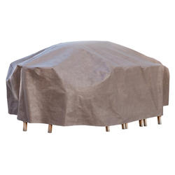 """Duck Covers Elite 140""""L Rectangle Patio Table and Chairs Cover with Inflatable Airbag"""