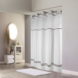 Escape White/Brown Polyester Shower Curtain with Liner and Window