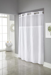 White Mystery Polyester Shower Curtain with Liner