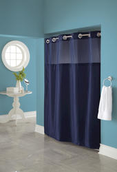 Navy Mystery Polyester Shower Curtain with Liner