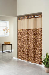 Leopard Print Mystery Polyester Shower Curtain with Liner