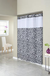Zebra Print Mystery Polyester Shower Curtain with Liner