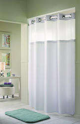 White Herringbone Polyester Shower Curtain with Liner