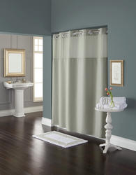 Sage Green Diamond Pique Mystery Polyester Shower Curtain with Liner