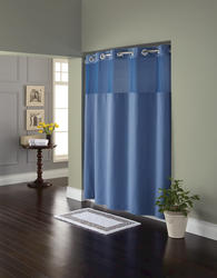 Moonlight Blue Diamond Pique Mystery Polyester Shower Curtain with Liner