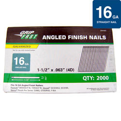 "Grip Fast 1-1/2"" 16-Gauge Electro-Galvanized Angled Finish Nail - 2,000 Pieces"