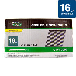 "Grip Fast 2"" 16-Gauge Electro-Galvanized Angled Finish Nail - 2,000 Pieces"