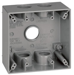 "3/4"" 5 Hole 2 Gang Box - Gray"