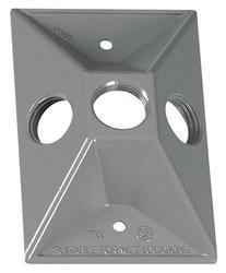 "1/2"" 3 Hole 1 Gang Rectangular Lampholder Cover - Gray"