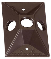 "1/2"" 3 Hole 1 Gang Rectangular Lampholder Cover - Bronze"