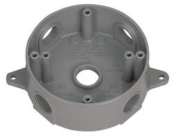 "3/4"" 5 Hole Round Box - Gray"