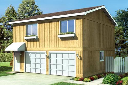 Two bedroom apartment garage building plans only for Two bedroom garage apartment plans