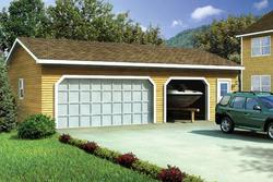 Two-Car Eave Entry Garage - Building Plans Only