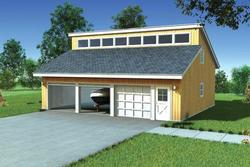 Two-Car Eave Entry Clerestory Roof Garage - Building Plans Only