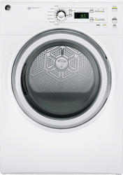 GE® 7.0 cu .ft. Super Capacity White-on-Silver Gas Dryer