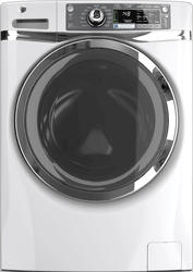GE® 4.8 cu. ft. DOE White and Chrome ENERGY STAR Built-in Riser Front Load Washer