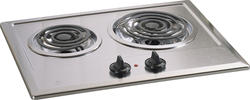 "GE® 21"" Stainless Steel Electric Built-In 2-Burner Coil Cooktop"