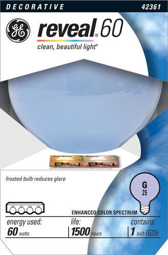 ge 60 watt reveal globe white light bulb at menards. Black Bedroom Furniture Sets. Home Design Ideas