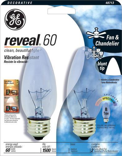 ge 60 watt reveal decorativer medium light bulbs 2 pack at menards. Black Bedroom Furniture Sets. Home Design Ideas