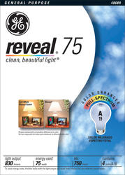 GE 75 Watt Reveal® A19 Light Bulb (4-Pack)