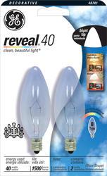 GE 40 Watt Clear Reveal® Candelabra Light Bulb (2-Pack)