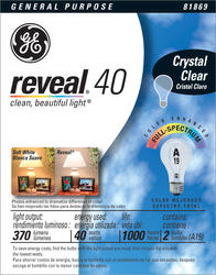 GE 40 Watt Clear Reveal® Light Bulb (2-Pack)