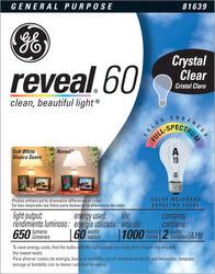 GE 60 Watt Clear Reveal® Light Bulb (2-Pack)