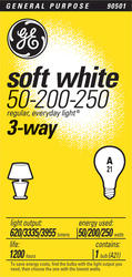 GE 50/200/250 Watt Soft White 3-Way Light Bulb