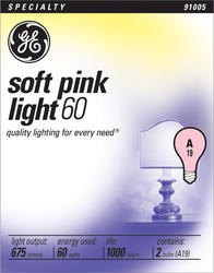 GE 60 Watt Soft Pink Light Bulb (2-Pack)