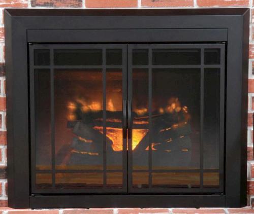Easton medium prairie cabinet style fireplace door at menards for Prairie style fireplace