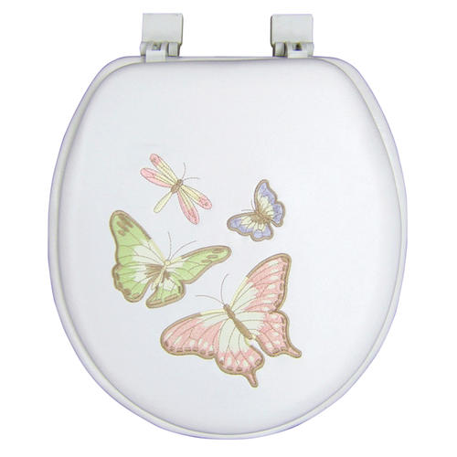 White Soft Butterfly Embroidered Seat At Menards