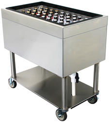 """30"""" L x 18"""" W x 30"""" H Stainless Steel Mobile Ice Bin"""