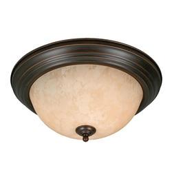 "Patriot Lighting® Lincoln 15"" Rubbed Bronze 3-Light Flushmount"