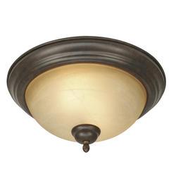 "Patriot Lighting® Newton 13.25"" 2-Light Peppercorn Flushmount"