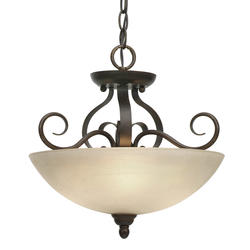 "Patriot Lighting® Newton 14.5"" 3-Light Peppercorn Convertible Semi-Flushmount"