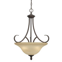 "Patriot Lighting® Barrington 17"" Rubbed Bronze 3-Light Pendant Bowl"
