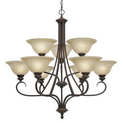 Patriot Lighting Barrington 36 Rubbed Bronze 9 Light Chandelier