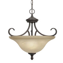 "Patriot Lighting® Barrington 17"" Rubbed Bronze 3-Light Convertible Semi-Flushmount"