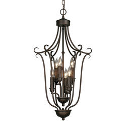 """Patriot Lighting® Lincoln 16"""" Rubbed Bronze 6-Light Caged Foyer"""