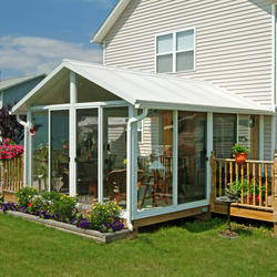 EasyRoom™ 11' x 12' Gable Roof Single-Pane Glass Sunroom Kit