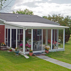 EasyRoom™ 14' x 16' Sloped Roof Single-Pane Glass Sunroom Kit
