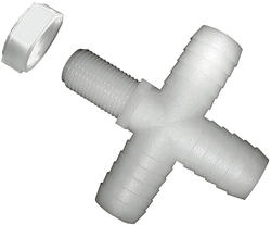 "11/16"" UN X 1/2"" Barb Nylon Nozzle Fitting - Cross"