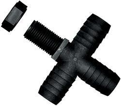 "11/16"" UN X 1/2"" Barb Polypropylene Nozzle Fitting - Cross"