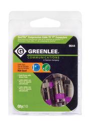"Greenlee ""F"" RG6 Quad Compression CATV ""F"" Connectors  (10-Pack)"
