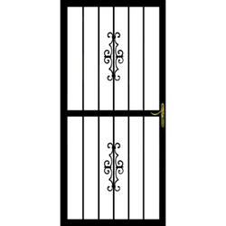"Grisham Guardian 36"" x 80"" Black Steel Security Door with Reversible Hinging"