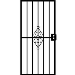 "Grisham Protector 36"" x 80"" Black Steel Security Screen Door with Reversible Hinging"