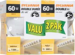 Sylvania 60-Watt G25 Double Life White Dimmable Incandescent Light Bulbs (2-Pack)