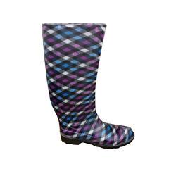 Ladies' Fashion Boots - Pink Blue Plaid